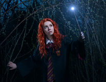 Девушка с волшебной палочкой идет через лес к демону стоковые фото