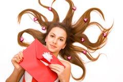 Девушка с габаритом на белизне Стоковые Фото