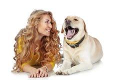 Девушка с ее собакой Стоковые Фотографии RF