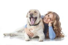 Девушка с ее собакой Стоковая Фотография