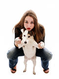 Девушка с ее собакой Стоковое фото RF