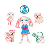 Девушка с ей игрушки и любимчик Стоковые Фото