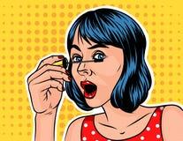 Девушка с делать коротких волос составляет Иллюстрация штока