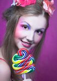 Девушка с леденцом на палочке Стоковое Изображение
