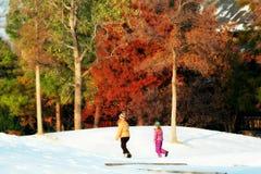Девушка следовать предназначенной для подростков женщиной на холме Snowy Стоковые Изображения