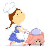 Девушка с едой Иллюстрация вектора