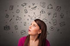 Девушка с задачей концепции дней стоковое изображение