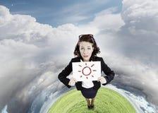 Девушка с знаменем Стоковая Фотография