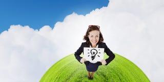 Девушка с знаменем Стоковое Изображение RF