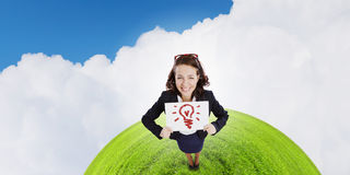 Девушка с знаменем Стоковое Фото