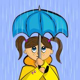 Девушка с зонтиком в дожде иллюстрация вектора