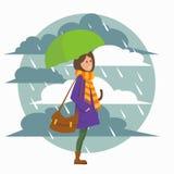 девушка с зонтиком иллюстрация вектора