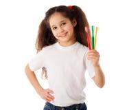 Девушка с зубными щетками Стоковые Фото
