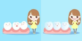Девушка с зубом иллюстрация вектора