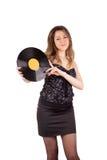 Девушка с диском винила Стоковое Фото