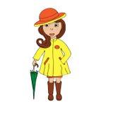 Девушка с иллюстрациями зонтика Стоковые Изображения RF