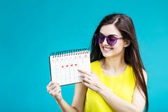 Девушка с календарем стоковое фото