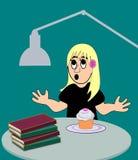 Девушка с книгами и булочкой Стоковая Фотография RF