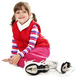 Девушка с коньками льда Стоковая Фотография