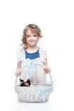 Девушка с корзиной Стоковые Изображения RF