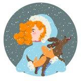 Девушка с коричневой собакой иллюстрация вектора