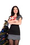 Девушка с коробкой подарка в руках Стоковое Изображение RF