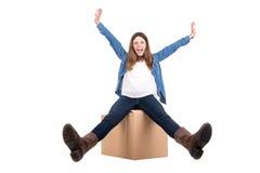 Девушка с коробкой стоковые фото