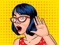 Девушка с короткими волосами слушает к секрету Иллюстрация вектора