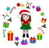 Девушка с костюмом рождества и круглой рамкой Стоковая Фотография RF