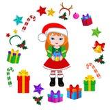 Девушка с костюмом рождества и круглой рамкой Стоковые Фотографии RF