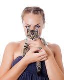 Девушка с котом Стоковое Изображение RF