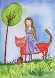 Девушка с котом иллюстрация штока