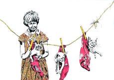 Девушка с котом Бесплатная Иллюстрация