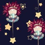 Девушка с красными волосами Младенец с кружкой Изолированный на синей предпосылке безшовный возлюбленный спокойной ночи картины иллюстрация вектора