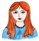 Девушка с красными волосами, нарисованной вручную иллюстрацией Стоковое Изображение RF