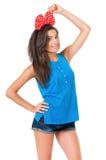 Девушка с красным смычком Стоковое Изображение