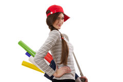 Девушка с креном бумаги Стоковые Фото