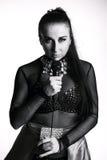 Девушка с микрофоном Стоковая Фотография RF