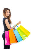 Девушка с много хозяйственными сумками Стоковое Фото
