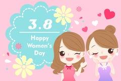 Девушка с днем счастливых женщин Стоковые Изображения