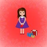 Девушка с носком и подарочными коробками, иллюстрацией вектора Стоковое Фото