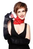 Девушка с обломоками покера стоковые изображения