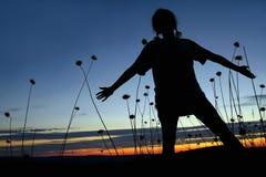 Девушка с оплетками в динамическом представлении стоковые изображения