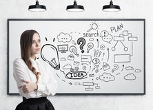 Девушка с оплеткой и бизнес-планом Стоковые Изображения RF