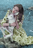 Девушка с оленем Стоковое Изображение RF
