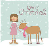 Девушка с оленями рождества иллюстрация вектора