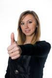 Девушка с одобренным жестом Стоковая Фотография RF