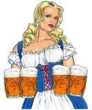 Девушка с пивом иллюстрация штока