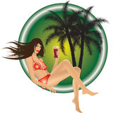 Девушка с питьем иллюстрация штока