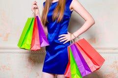 Девушка с покупками Стоковое фото RF